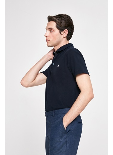 D'S Damat Slim Fit Pike Dokulu T-Shirt Beyaz